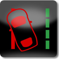 Land Rover / Range Rover / Evoque / Discovery lane departure warning system (red) dashboard warning light