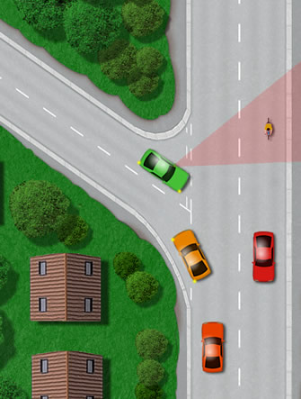 how to stop a car at a junction