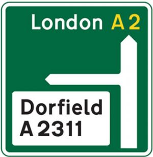 Major road, Primary route dual carriageway road sign