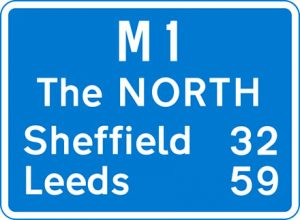 Major, primary route motorway road sign