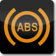 Mercedes Benz anti-lock-braking system (ABS) dashboard warning light