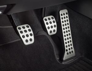 Manual cars clutch (left), brake (centre) and accelerator (right)