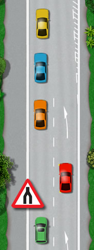 Merging traffic at the end of a dual carriageway