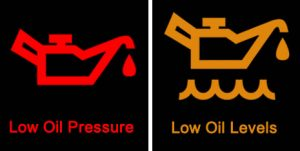 Oil pressure and oil level dashboard warning lights
