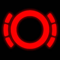 Worn brake pad warning light on cars fitted with sensors