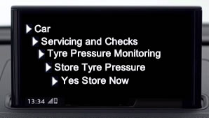 Reset and store tyre pressure on new Audi A3 with virtual cockpit