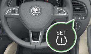 Reset ŠKODA Fabia tyre pressure monitoring system Mk3 button