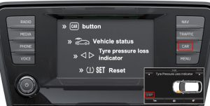 Reset ŠKODA Fabia tyre pressure monitoring system Mk3 infotainment system