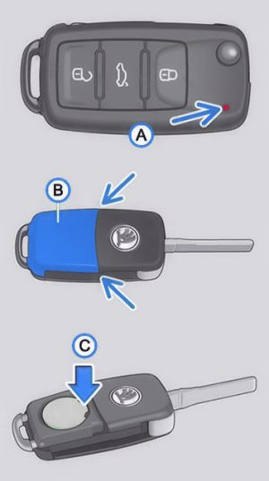 Key fob battery change for ŠKODA Octavia Mk2